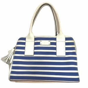 Kate Spade southport avenue lydia handbag in blue white stripes cow leather